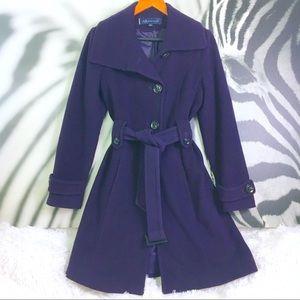 Anne Klein Wool Long Peacoat W/ Waist Tie Plum XS